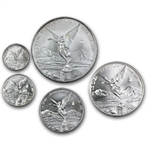 2002 1.9 oz Silver Libertad 5-Coin Set (Brilliant Uncirculated)